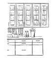 kitchen furniture sketch hand drawn cupboard vector image vector image