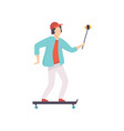 male skateboarder taking selfie photo on vector image vector image