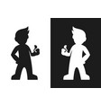 man silhouette with thumb up icon vector image