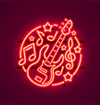 neon label music rock banner vector image vector image
