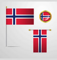 norway waving flag design with badge vector image