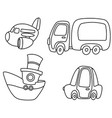 outlined cartoon transport set vector image vector image
