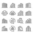 property building and accommodation icons set vect vector image vector image