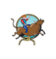 Rodeo Cowboy Bull Riding Lasso Cartoon vector image vector image