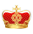 Royal gold crown with ornament and pearls vector image vector image
