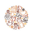set coffee theme line art draw icons in the vector image vector image
