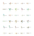 Set of linear arrow icons thin line design vector image