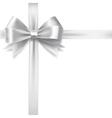 silver ribbon bow vector image vector image