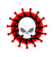 skull and guns head of skeleton and rifles vector image