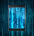 tablet with matrix background vector image