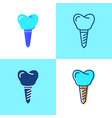 tooth implant icon set in flat and line style vector image vector image
