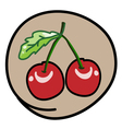 Two Fresh Cherries on Round Brown Background vector image vector image