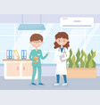 two medical staff professional practitioner in vector image