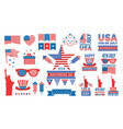 usa independence day bundle flags red blue stars vector image