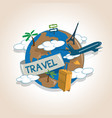 airplane travelling around globe travel vector image