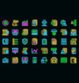 audit icons set neon vector image vector image