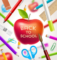 Back to school red apple with greeting vector image vector image