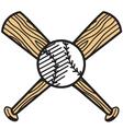 Baseball and bat vector image vector image