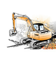 big excavator on the background vector image vector image