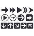 black arrow icons web flat signs vector image vector image