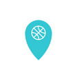 blue location with basketball ball inside icon vector image vector image
