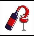 bottle splashing wine in the glass icon vector image vector image