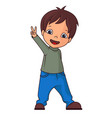 boy making victory sign vector image