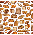 bread loaf bun and baguette seamless pattern vector image vector image