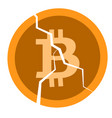broken coin with a bitcoin sign vector image vector image