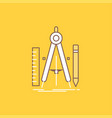 build design geometry math tool flat line filled vector image