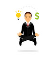 businessman character meditating in lotus pose and vector image vector image