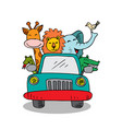cute animals in car on road white background vector image
