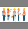 electrician different poses working vector image vector image