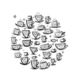 Frame with ornate mugs Sketch for your design vector image vector image