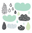 funny colorful drops of rain clouds vector image