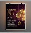 golden christmas celebration party flyer design vector image vector image