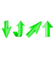 green arrows set 3d up and down web icons vector image vector image