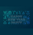 happy new year party blue line horizontal vector image vector image