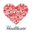 Heart with pulse and blood drop icons as heart vector image vector image
