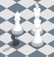 Isometric black pawn surrounded by white king vector image