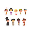 kids in national clothes boys and girls cartoon vector image