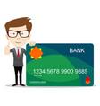 man in suit shows plastic credit or debit card vector image