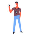 man using smartphone teenager taking photo or vector image