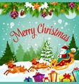 merry christmas santa gift greeting card vector image vector image