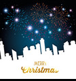 merry christmas sparkling fireworks vector image