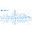 outline amman jordan skyline with blue buildings vector image vector image