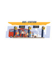 passengers with bags waiting for transport vector image vector image