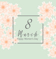 postcard to march 8 with paper flowers banners vector image vector image