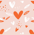 seamless childish pattern with hand drawn hearts vector image