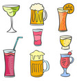set drink design art doodles vector image vector image